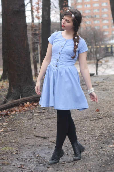 black thrifted boots - sky blue thrifted dress