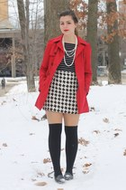 red Forever21 coat - black thrifted shirt - white thrifted skirt