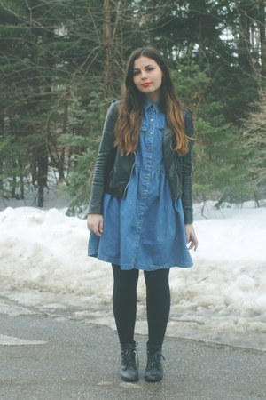 black H&M boots - navy thrifted dress - black H&M jacket