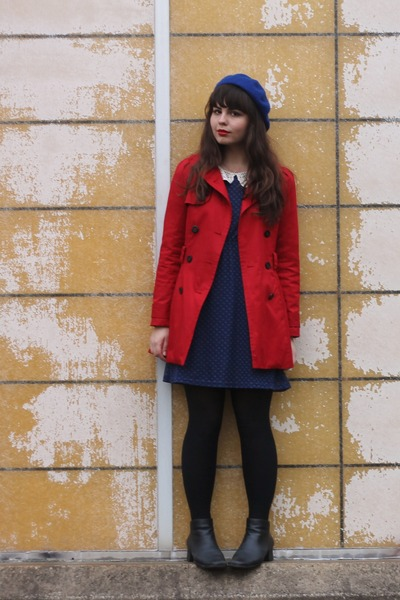 Red Forever21 Jackets Black Thrifted Boots Navy Modcloth