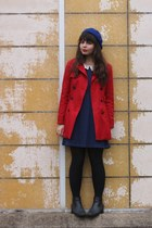red Forever21 jacket - black thrifted boots - navy modcloth dress