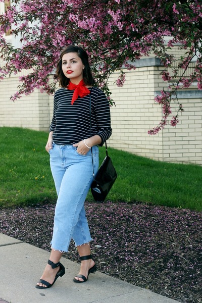 sky blue thrifted jeans - red thrifted scarf - black thrifted top