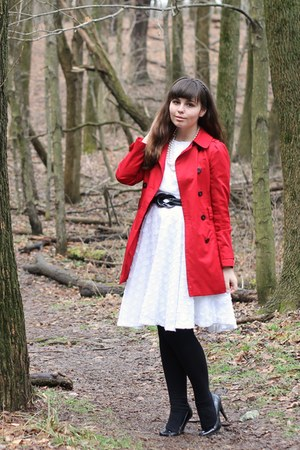 red Forever21 jacket - white thrifted dress