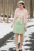 bubble gum vintage blouse - off white thrifted hat - lime green vintage skirt