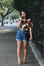 Sky-blue-thrifted-shorts-hot-pink-thrifted-vintage-blouse
