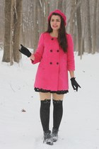 hot pink OASAP coat - black H&M boots - hot pink thrifted hat