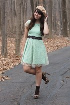tan American Apparel hat - aquamarine delias dress