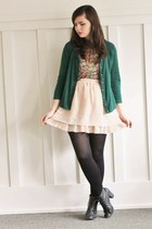 beige OASAP skirt - black H&M boots - forest green thrifted cardigan