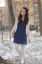 light pink thrifted cardigan - navy modcloth dress