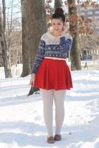 navy OASAP shirt - red OASAP skirt - light brown thrifted loafers