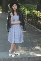 black Karina Dresses dress - black H&M jacket - white Forever21 flats