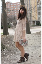 brown pink and pepper boots - beige Forever21 dress