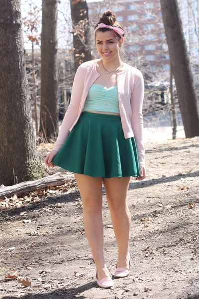 green OASAP skirt - light pink thrifted cardigan - aquamarine f21 top