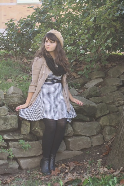 white thrifted dress - black thrifted boots - camel American Apparel hat
