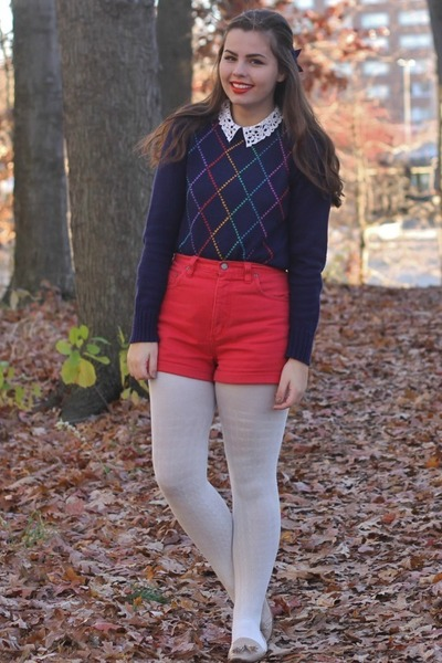 navy thrifted sweater - red thrifted shorts - tan pink and pepper loafers