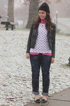 black H&M jacket - navy Aeropostale jeans - hot pink OASAP blouse