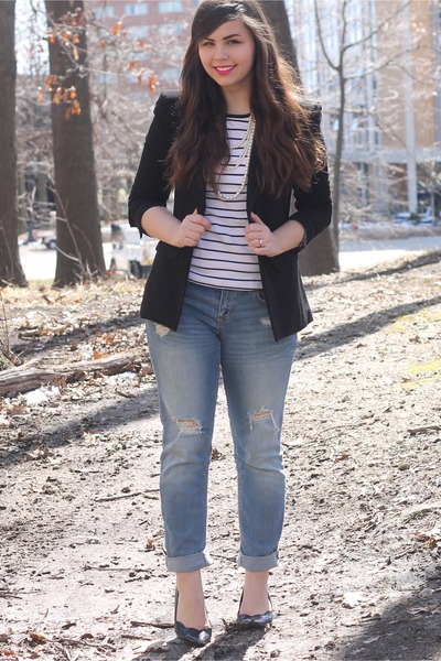 black f21 blazer - sky blue Aeropostale jeans - white f21 top