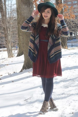 dark brown pink and pepper boots - brick red modcloth dress
