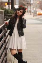 beige H&M dress - black H&M jacket