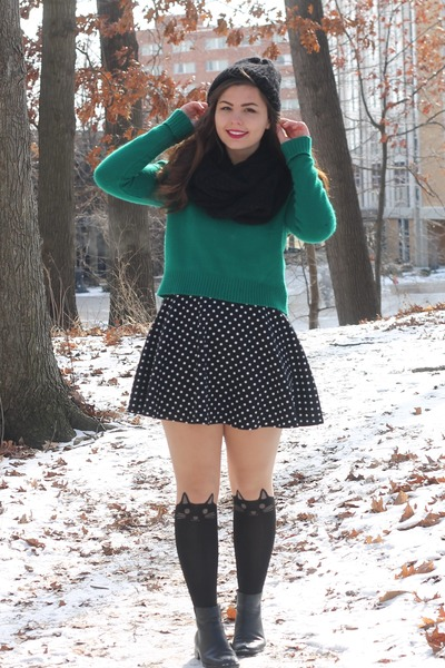 black Forever21 dress - green thrifted sweater - black Delias tights