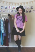 black deb dress - light purple Aeropostale shirt - black OASAP tights