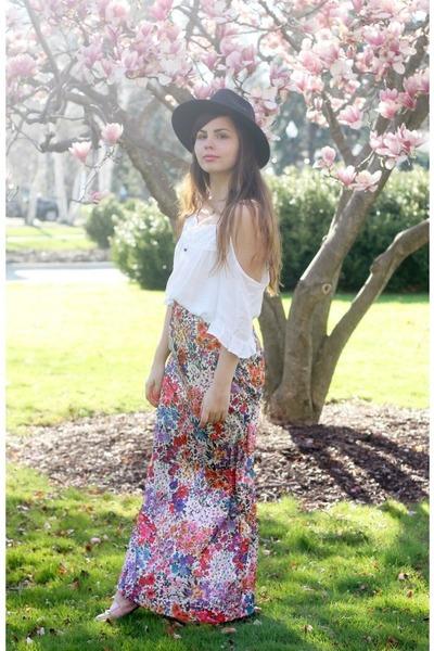 black OASAP hat - white Forever21 shirt - pink thrifted skirt