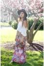 Black-oasap-hat-white-forever21-shirt-pink-thrifted-skirt
