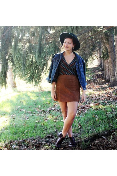 burnt orange thrifted skirt - dark green thrifted hat - navy thrifted jacket