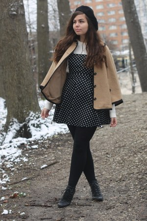 black H&M boots - black Forever21 dress - black aa hat - tan Forever21 cape