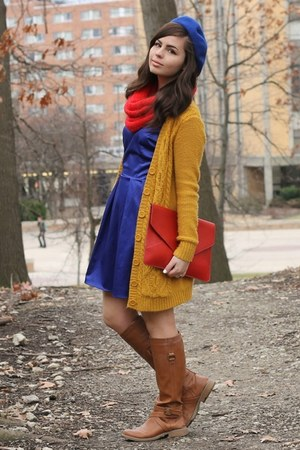 mustard Forever21 cardigan - blue LuLus dress - red OASAP purse