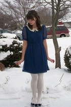navy Modcloth dress - navy thrifted heels - silver Gift From Boyfriend necklace