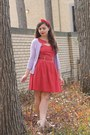 Red-modcloth-dress-light-purple-thrifted-cardigan