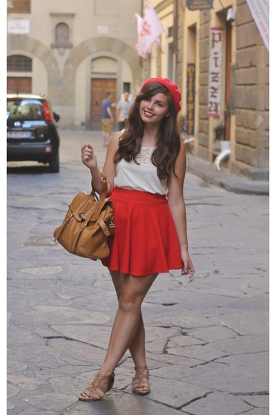 red Target hat - ivory Gap shirt - red OASAP skirt - bronze TJ Maxx sandals