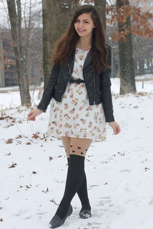 black H&M jacket - white modcloth dress - black OASAP tights