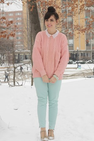 light pink thrifted sweater - aquamarine Charlotte Russe pants