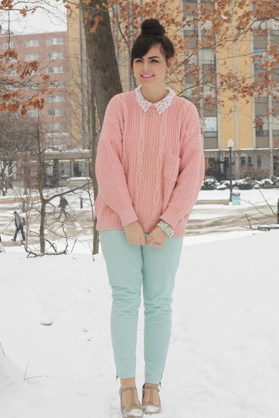 Light Pink Thrifted Sweaters, Aquamarine Charlotte Russe Pants ...