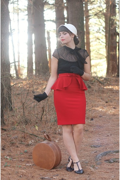ruby red lulu skirt - off white thrifted hat - black thrifted blouse