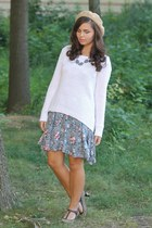 white Aeropostale sweater - periwinkle thrifted dress - tan American Apparel hat