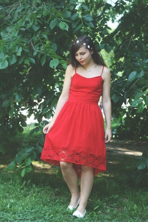 red thrifted dress - white Forever21 flats