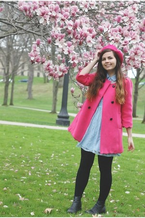 hot pink OASAP coat - black thrifted boots - sky blue thrifted dress