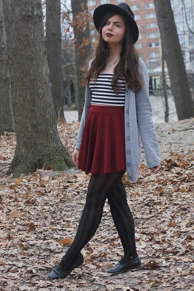 black OASAP hat - black LuLus tights - brick red OASAP skirt