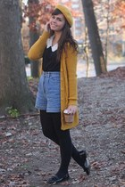 mustard Target hat - periwinkle thrifted shorts - mustard Forever21 cardigan