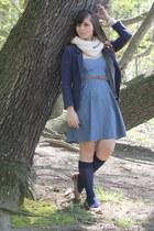 blue Target dress - navy H&M blazer - white Target scarf