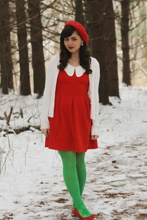 red modcloth dress - red Target hat - cream thrifted cardigan