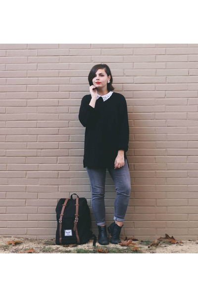 black thrifted sweater - heather gray Aeropostale jeans