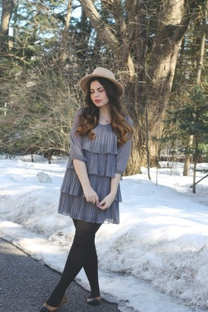 silver modcloth dress - tan brandy melville hat - brown Loly in the Sky flats