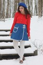 Red-old-navy-sweater-navy-vintage-60s-skirt-light-brown-thrifted-flats