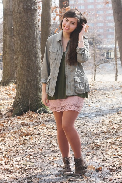 olive green thrifted jacket - dark brown pink and pepper boots