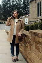 tan Forever 21 coat - navy Aeropostale jeans - eggshell thrifted sweater