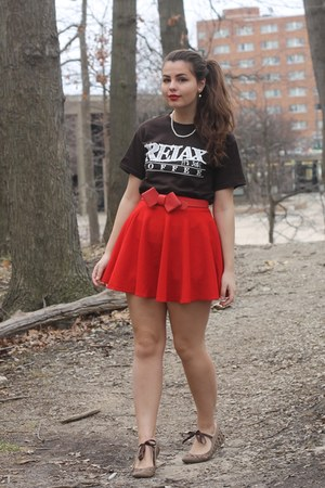 red Oasp skirt - dark brown pink and pepper flats